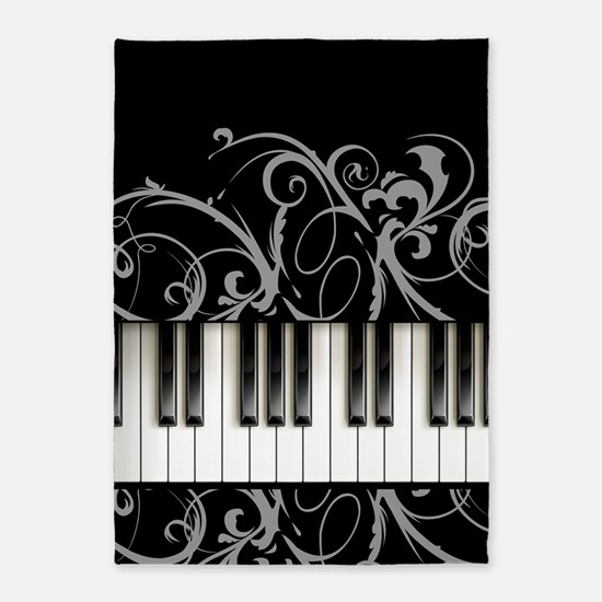 Piano Keyboard 5'x7'Area Rug