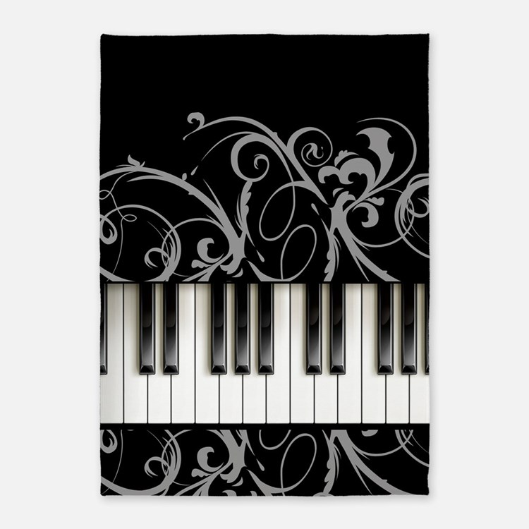 Piano Keyboard 5'x7'Area Rug
