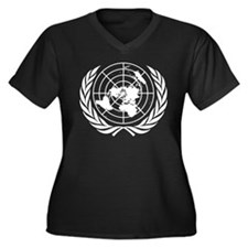 United Nations Women's Plus Size V-Neck Dark T-Shi
