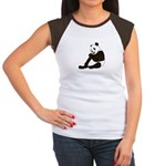 PAND BEAR HOLDING A SUCKER Women's Cap Sleeve T-Sh