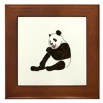PAND BEAR HOLDING A SUCKER Framed Tile