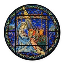 Nativity Window Round Car Magnet