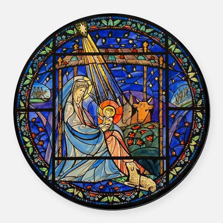 Nativity Window Round Car Magnet