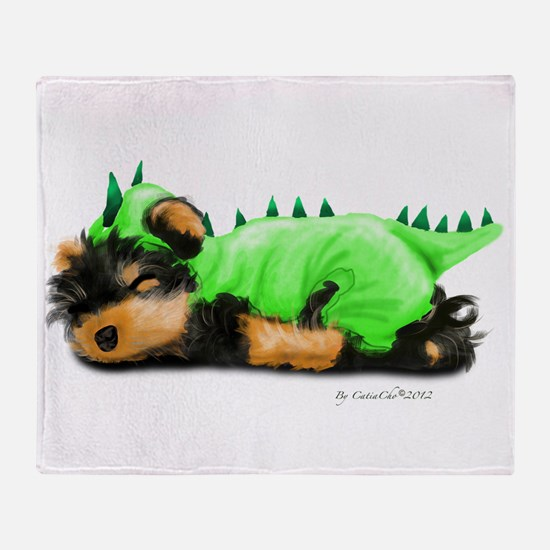Yorkie Dragon Throw Blanket