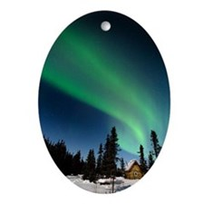 Aurora borealis in Alaska - Oval Ornament