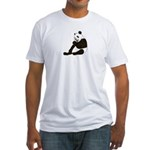 PANDA BEAR WITH A LOLLY POP Fitted T-Shirt