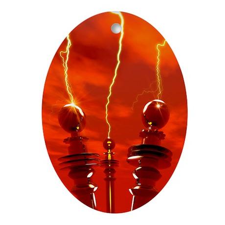 Tesla coils firing, artwork - Oval Ornament