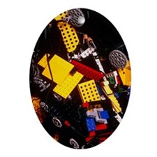 Assorted Lego bricks and cogs - Oval Ornament