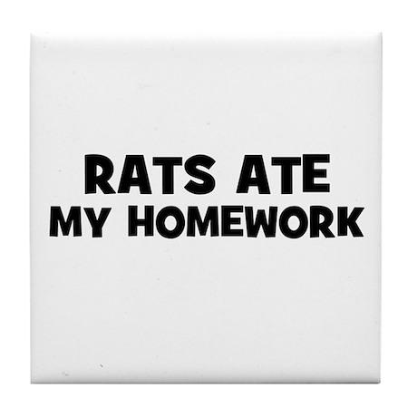 Rats Ate My Homework Tile Coaster
