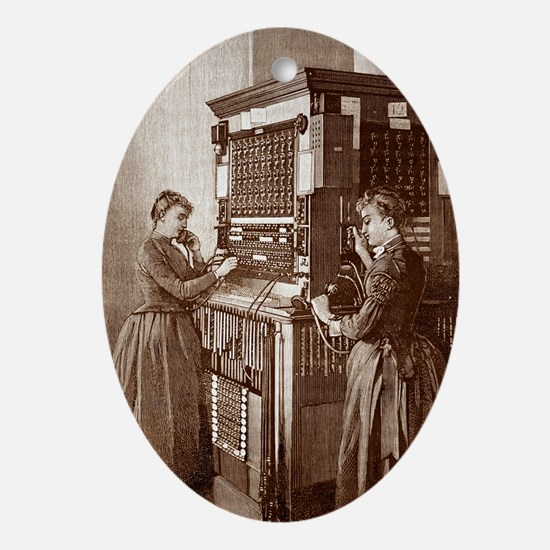 Early telephone exchange, Paris - Oval Ornament
