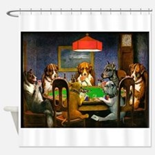 Card Playing Dogs Shower Curtain