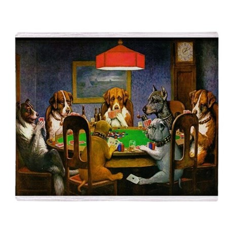 Card Playing Dogs Throw Blanket