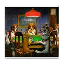 Card Playing Dogs Tile Coaster