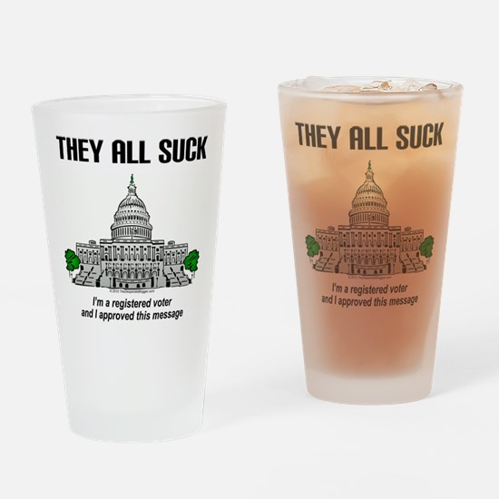 """I approved this message."" Drinking Glass"