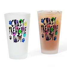 Crazy Frenchie Lady Drinking Glass