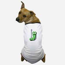 Cute Silly Worm on Fishing Hook Dog T-Shirt