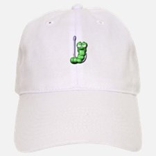 Cute Silly Worm on Fishing Hook Baseball Baseball Cap