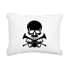 Skull with Trumpets Rectangular Canvas Pillow
