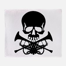 Skull with Trumpets Throw Blanket