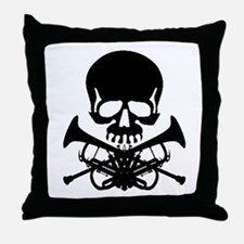 Skull with Trumpets Throw Pillow