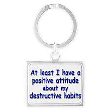 Positive Attitude about Habits Landscape Keychain