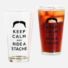 Ride A Mustache Drinking Glass