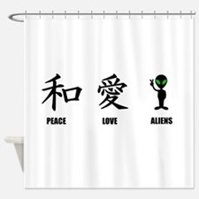 Kanji Peace Love Aliens Shower Curtain
