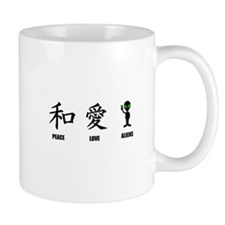 Kanji Peace Love Aliens Mug