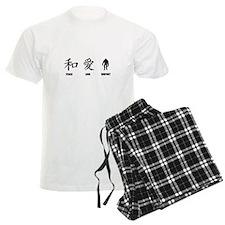 Kanji Peace Love Bigfoot Pajamas