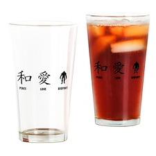 Kanji Peace Love Bigfoot Drinking Glass