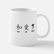 Kanji Peace Love Zombies Mug