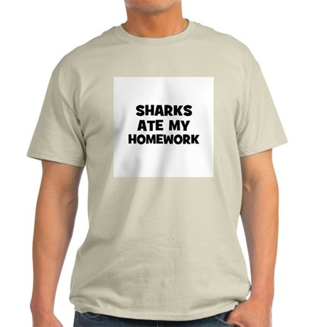 Sharks Ate My Homework Ash Grey T-Shirt