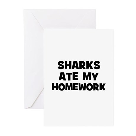 Sharks Ate My Homework Greeting Cards (Package of