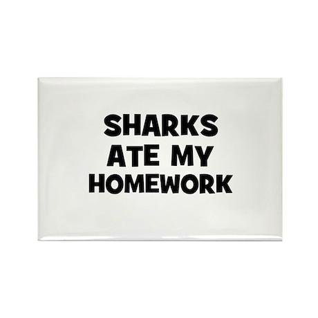 Sharks Ate My Homework Rectangle Magnet (10 pack)