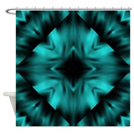 Teal and Black Digital Art Shower Curtain by stolenmomentsph