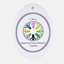 Supporting Cancer Research Together Ornament (Oval