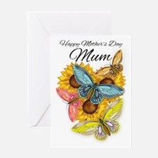 Mum Mother's Day Card With Butterflies And Sunflow