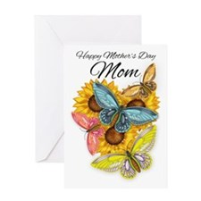Mom Mother's Day Card With Butterflies And Sunflow