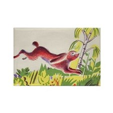 leaping rabbit Rectangle Magnet