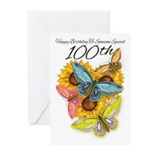 100th Birthday Greeting Cart Butterfly (Pk of 20)