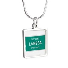 Lamesa, Texas City Limits Silver Square Necklace