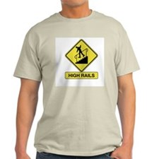 High Rails Caution Sign Ash Grey T-Shirt