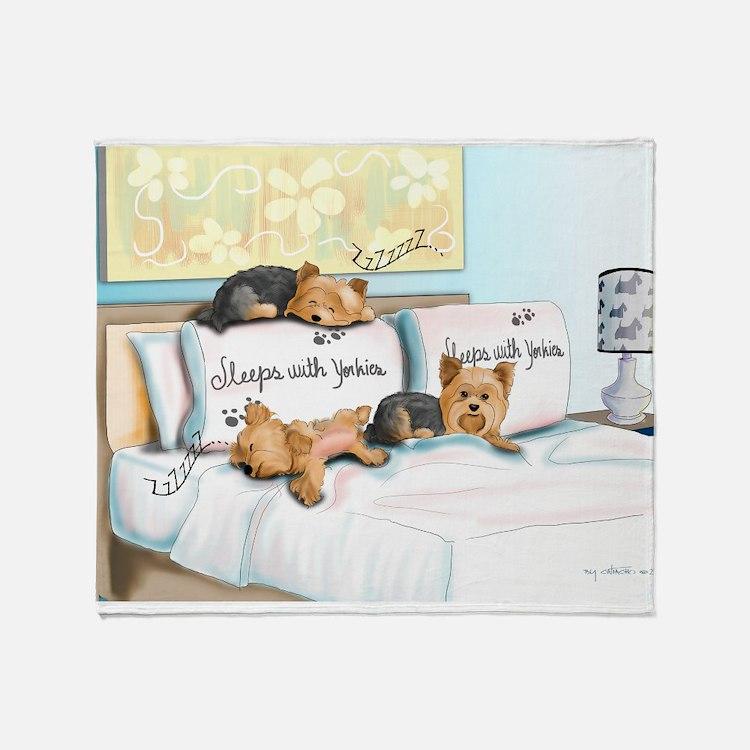 Sleeps with Yorkies Throw Blanket