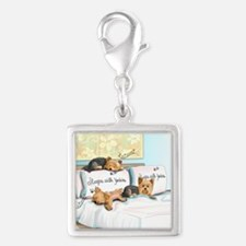 Sleeps with Yorkies Silver Square Charm