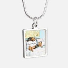 Sleeps with Yorkies Silver Square Necklace