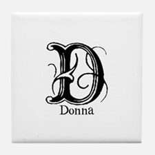 Donna: Fancy Monogram Tile Coaster