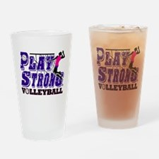 GirlsVolleyBallSlamTee Drinking Glass