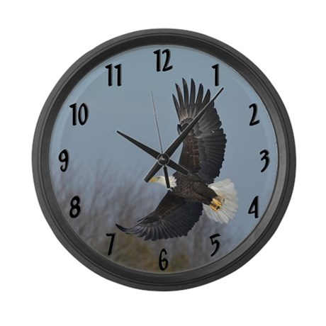 Bald Eagle soaring Large Wall Clock