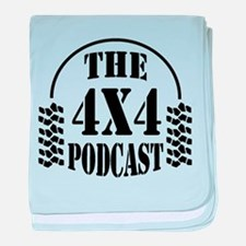 The 4x4 Podcast logo baby blanket