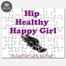 Hip Healthy Happy Girl Running Logo Puzzle